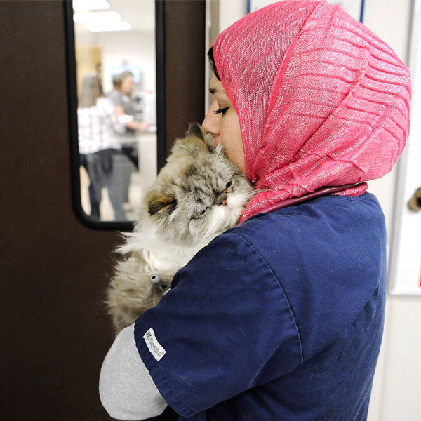 women hugging cat